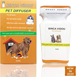 binca vidou Pet Reed Diffuser, Jasmine Diffuser Designed for Families with Pets Perfume Odour Remover for 90 Days Cruelty-Free & Safe to Kids and All Pets 400ml
