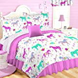 10pc Full Size Pink Pony Horse Room Ensemble (Comforter, Sheet Set, Toss Pillow and Window Valance) Girls Western Bed in a Bag
