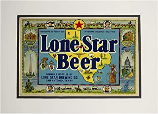 product image for Lone Star Brand - San Antonio, Texas - Beer Label (11x14 Double-Matted Art Print, Wall Decor Ready to Frame)