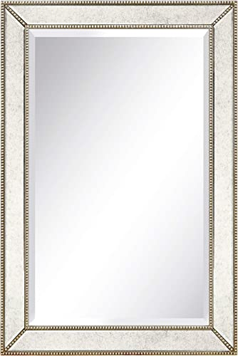 Empire Art Direct Wall Solid Wood Frame,1″-Beveled Center Antique Mirror