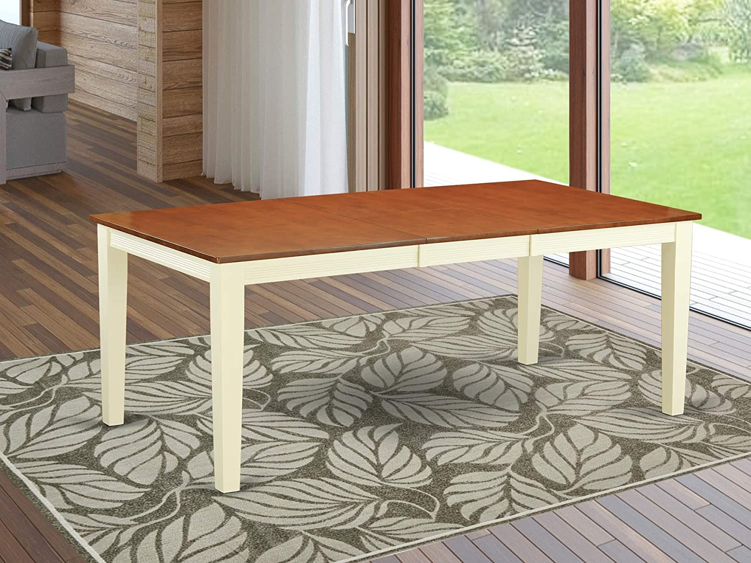 East West Furniture Butterfly Leaf Quincy Dining Table - Cherry Table Top and Buttermilk Finish Stylish 4 Legs Hardwood Dining Room Table