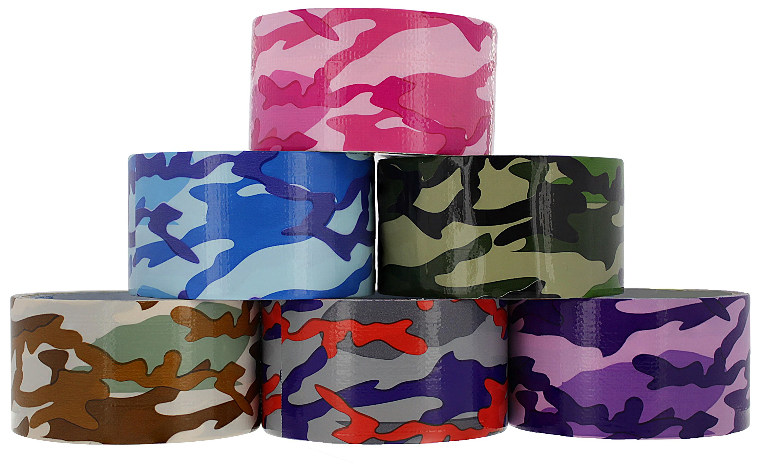 RAM-PRO Camouflage Series Heavy-Duty Duct Tape | Assorted Colors Pack of 6 Rolls, 1.88-inch x 5 Yard – Colors Included: Blue/Orange/Green, Brown/Grey, Green, Blue, Purple, Pink.