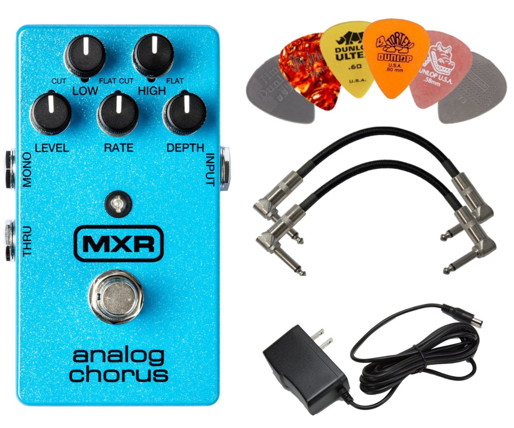 MXR M234 Analog Chorus Effects Pedal BUNDLE with AC/DC Adapter Power Supply for 9 Volt DC 1000mA, 2 Patch Cables and 6 Assorted Dunlop Guitar Picks by MXR