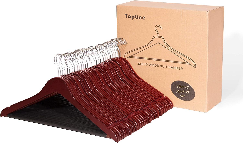 Topline Classic Wood Suit Hangers - 30 Pack (Cherry Finish)