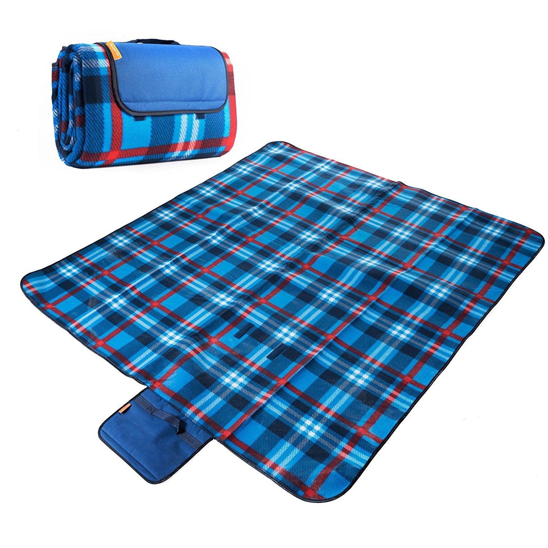 150 x 135 CM XXL Picknickdecke Fleece wasserdicht mit Tragegriff für Picknick Camping