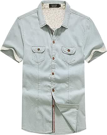 SSLR Men's Button Down Casual Short Sleeve Denim Shirt
