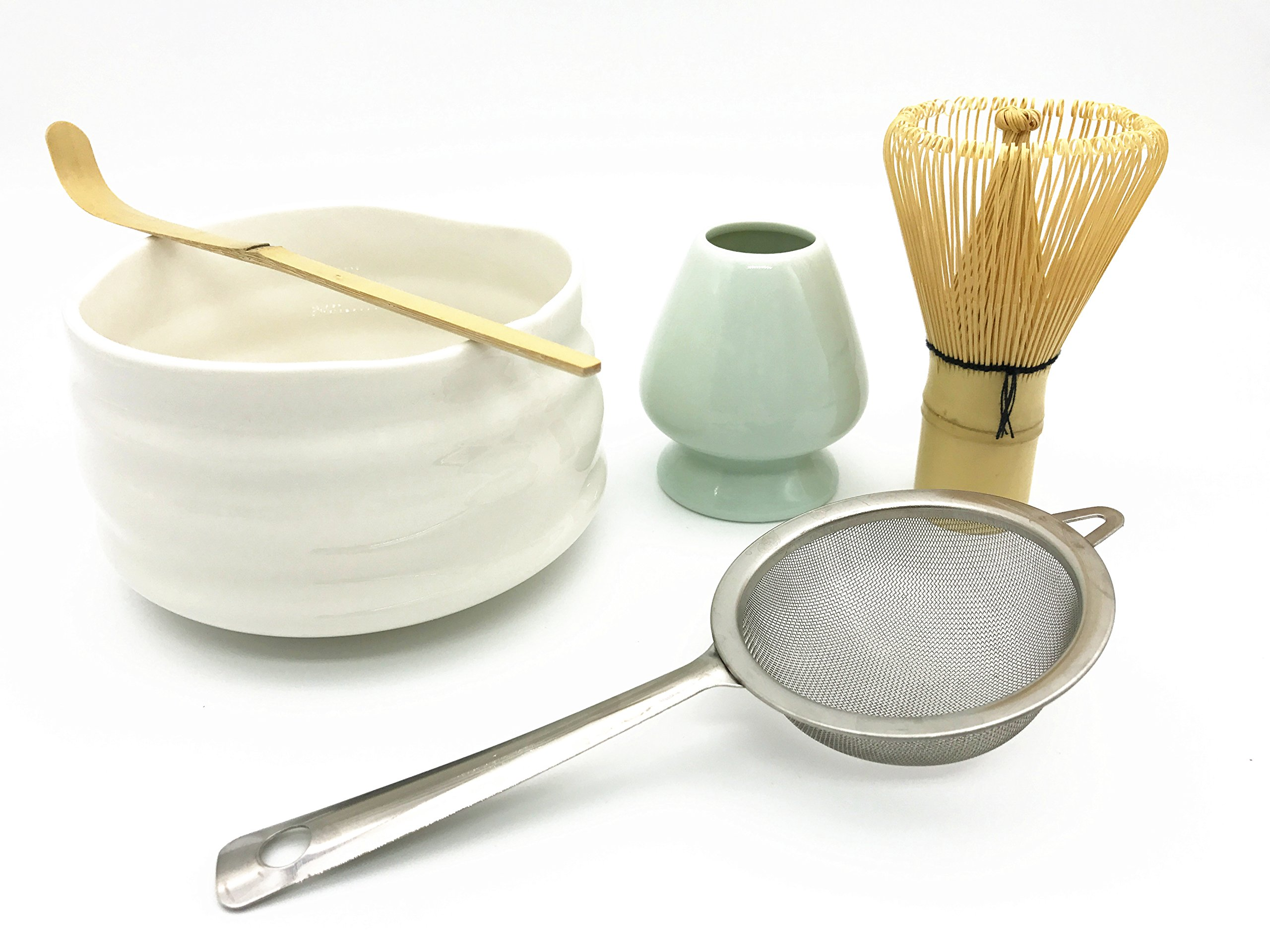 CHAQI Matcha Accessories Kit Include 5 items-100 Prongs Bamboo Whisk Chasen,Bamboo Scoop,Stainless Steel Tea Filter and Ceramic Matcha Bowl & Whisk Holder (White)