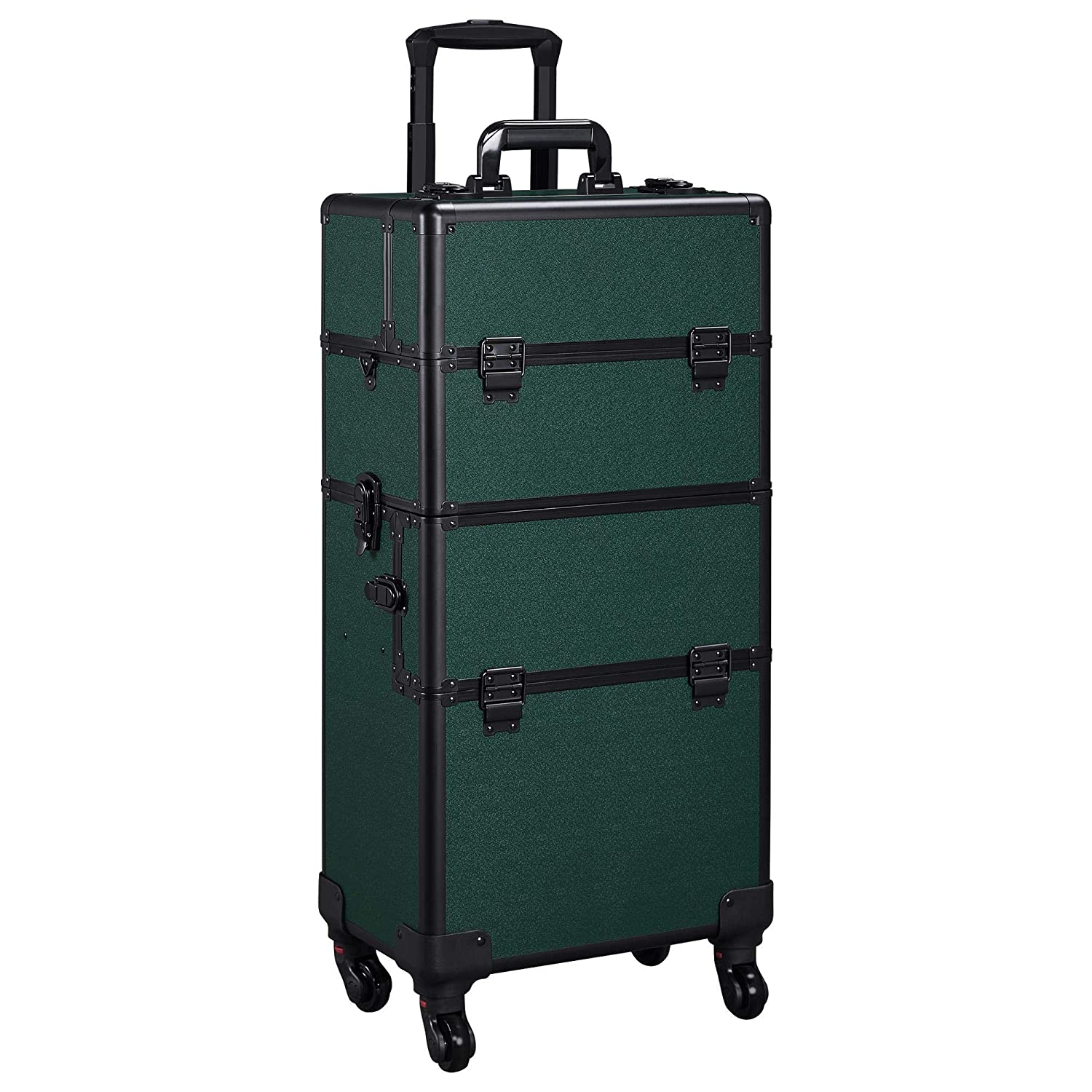 Yaheetech 3 in 1 Train Case Professional Dark Green Rolling Cosmetic Case Makeup Trolley Organizer Case with Carrying Strap