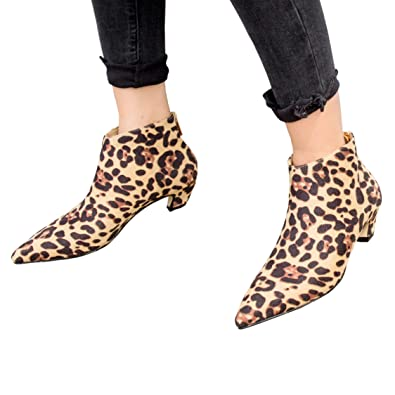 c7f8c2dc706 Womens Snow Leopard Cheetah Animal Print Leather Ankle Boots Booties (5.5  UK