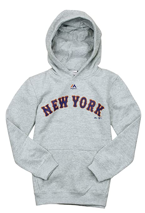 separation shoes 35fd3 91366 Majestic New York Mets MLB Big Boys Official Road Fleece Hoodie, Athletic  Grey