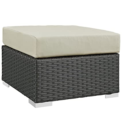 Genial Modway Sojourn Outdoor Patio Rattan Ottoman With Sunbrella Brand Antique  Beige Canvas Cushions