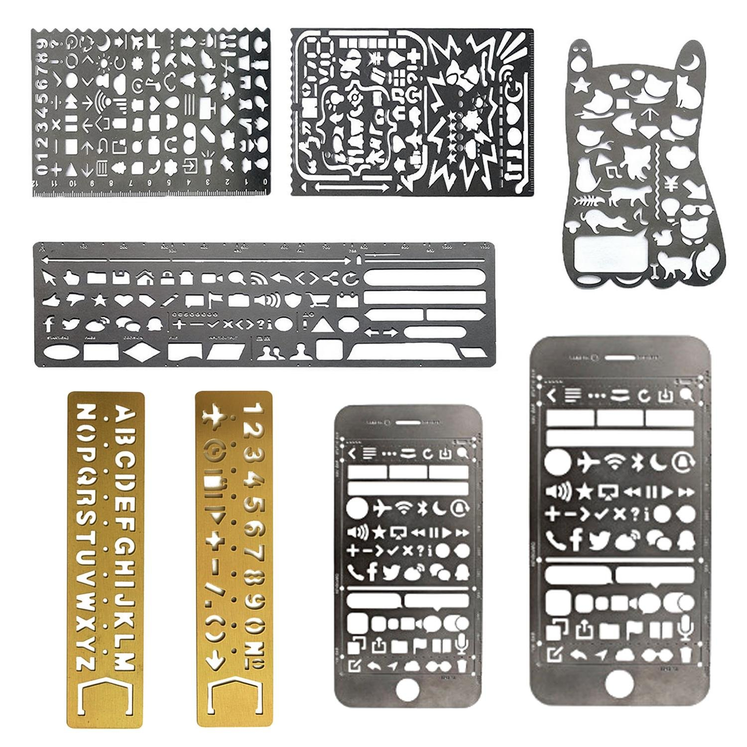 Aolvo 8 In1 Bullet Journal Stencil Template Set Drawing Graffiti Stainless Steel Ruler with Web UI/Life/Cat/IOS/Number/Alphabet For Journal Scrapbook Craft Projects