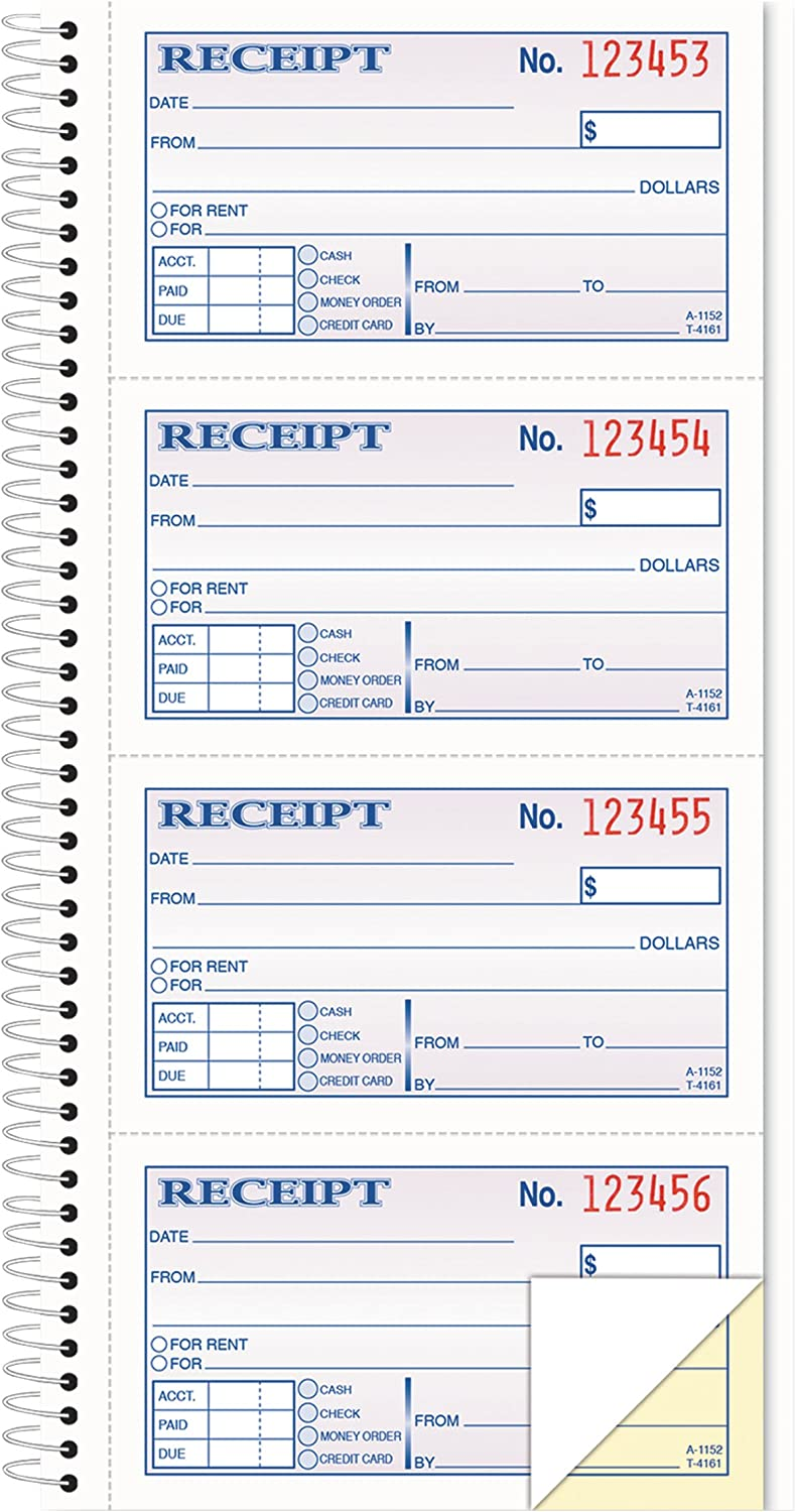 TOPS Money/Rent Receipt Book, 2-Part, Carbonless, 11 x 5.25Inches, 4 Receipts/Page, 200 Sets per Book (4161)