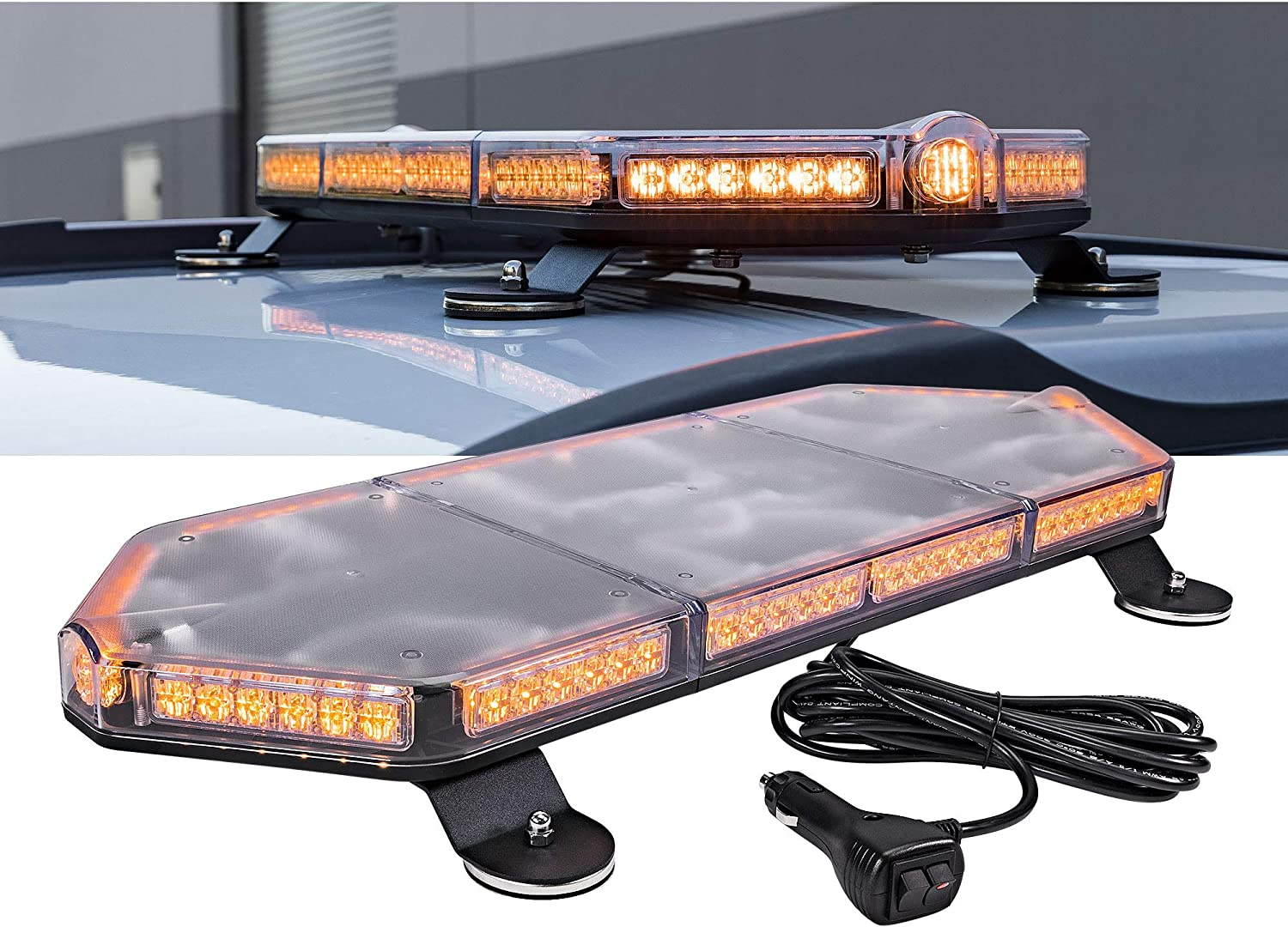 Flashing Emergency Warning Light Bar for Volunteer Firefighter Vehicle NanoFlare NFMB40 12 40W AMBER RED LED Strobe Mini Light Bar Magnet or Permanent SAE Class 1 63 Flash Modes 12ft Cord