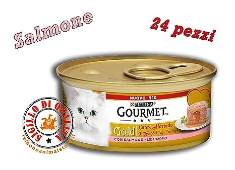 Gourmet Gold Corazón Suave con salmón 85 gr 24 cajitas gato gatos 24 piezas