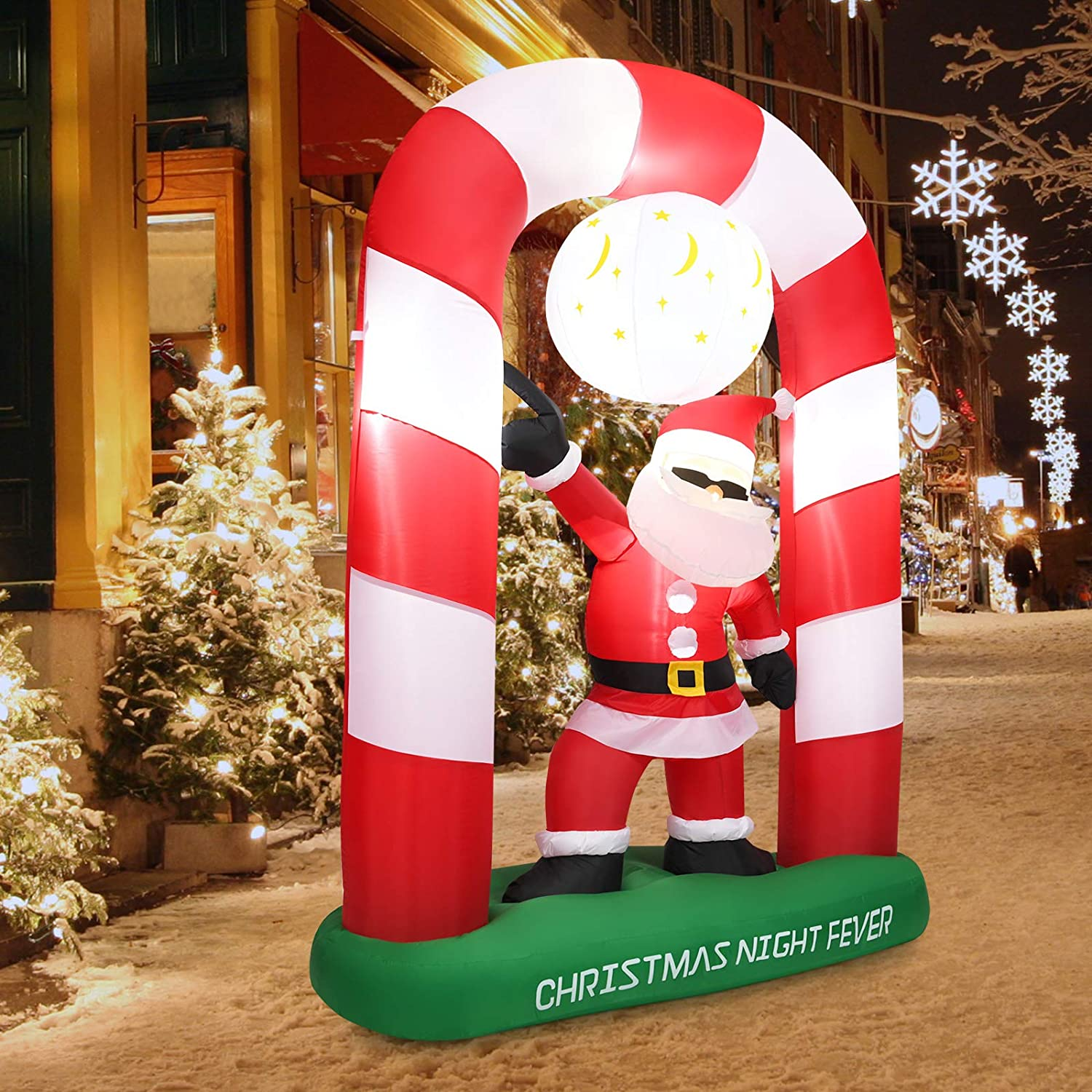 Tangkula 8 Ft Inflatable Christmas Stocking Arch with Disco Santa Claus, Blow Up Lighted Interior with Fan and Anchor Ropes, Indoor Outdoor Garden Yard Family Prop Decoration