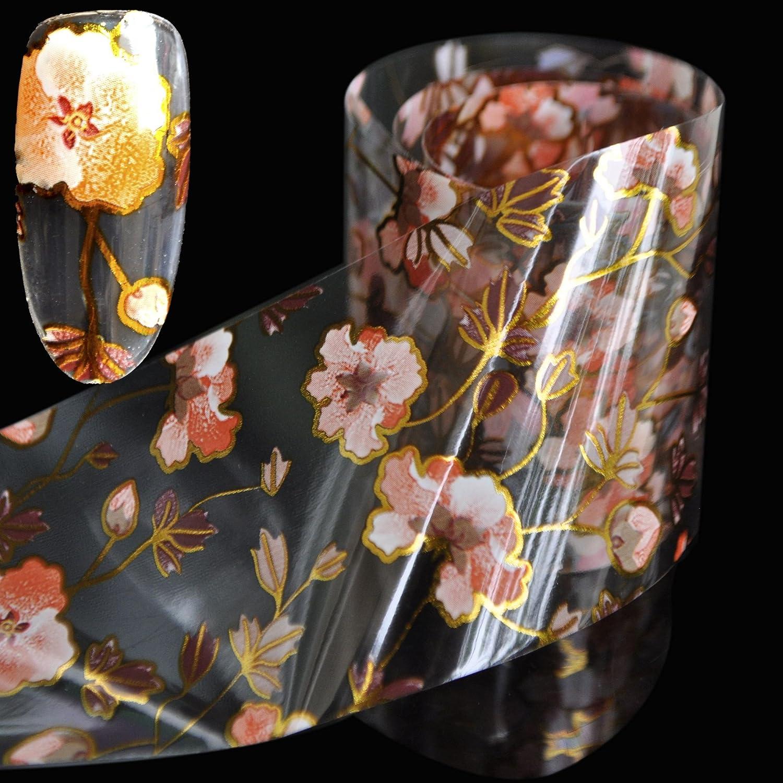 Orange Flower Pattern Nail Art Foil Vine Flowers Nail Decals Decoration Roll in Manicure Jar 1 meter GL17 EchiQ