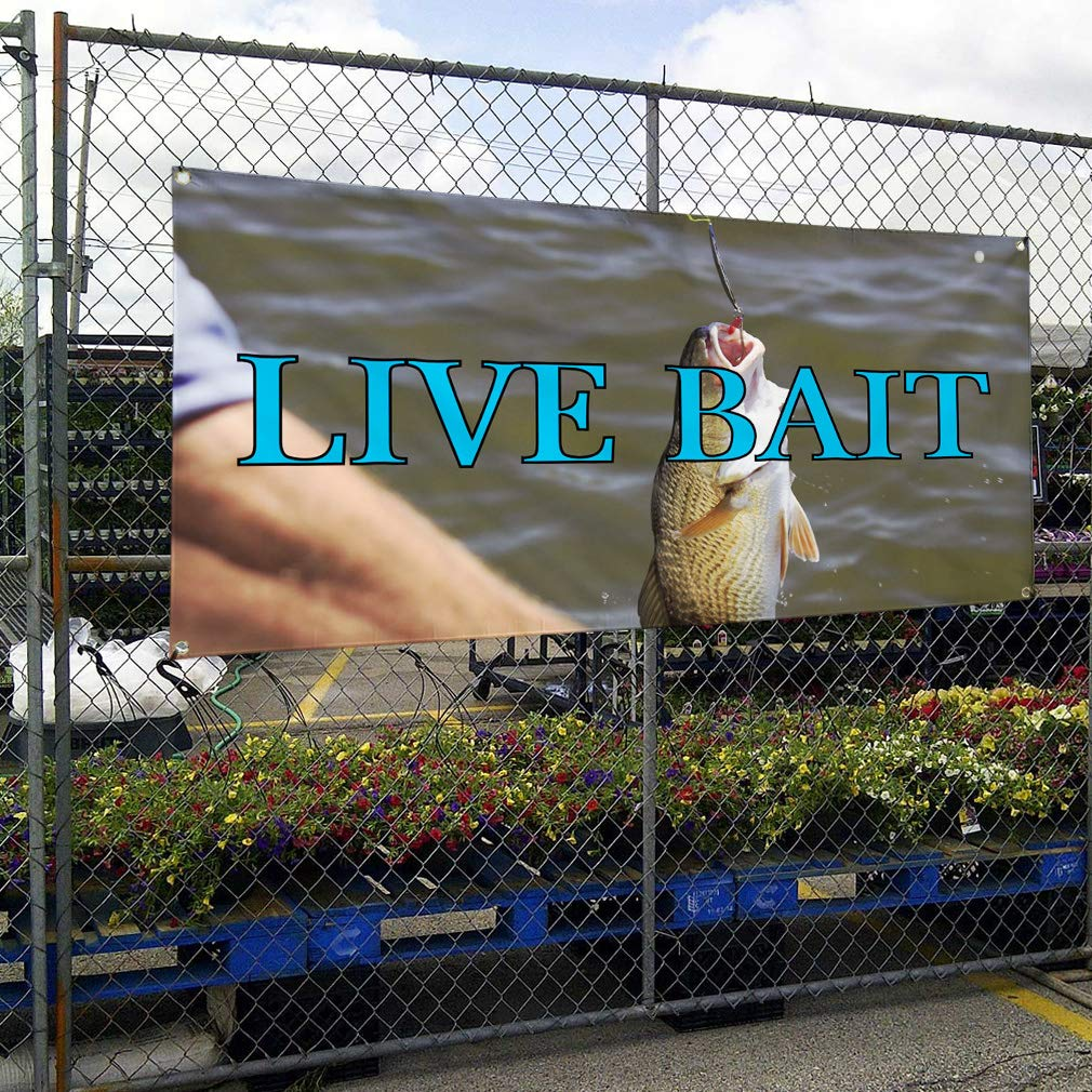 Set of 2 4 Grommets Multiple Sizes Available 28inx70in Vinyl Banner Sign Live Bait #2 Retail Live Bait Outdoor Marketing Advertising Grey