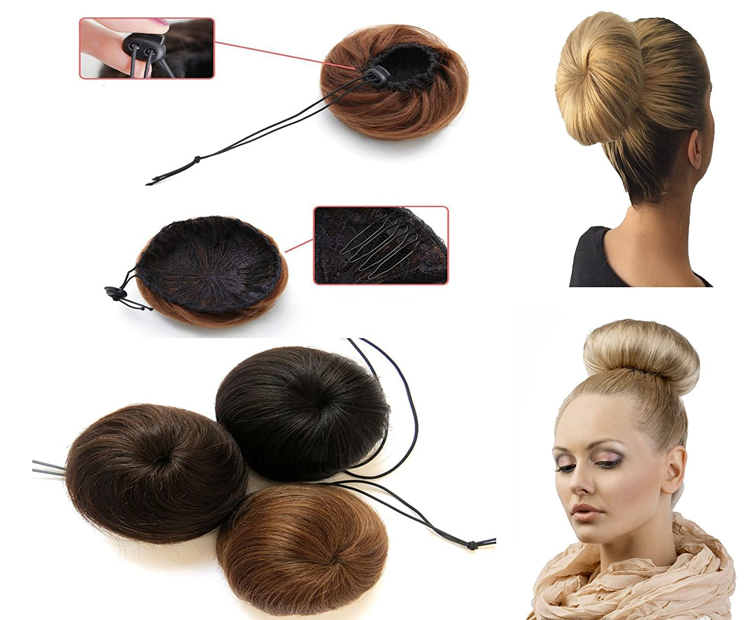 OMG Adjustable Donut Chignons Bun Ponytail Scrunchie Updo Bridal Human Hair OMG@K7030-CN-ZZH-C