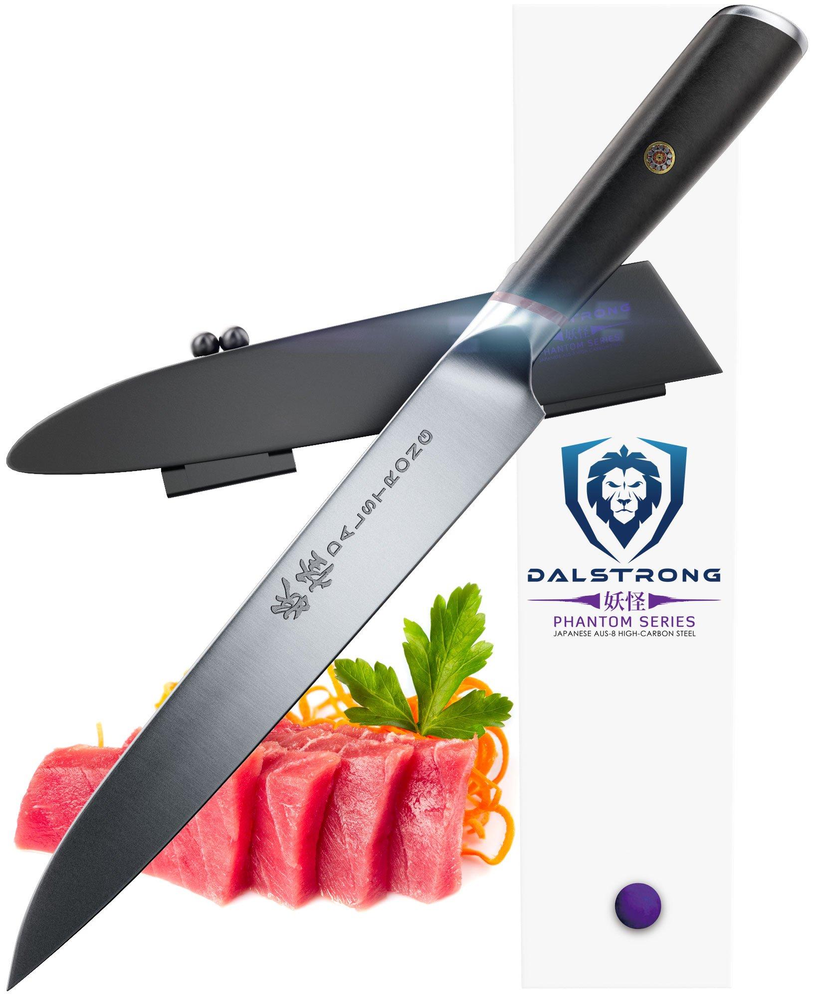DALSTRONG Yanagiba Sushi Knife - Phantom Series - Japanese AUS 8 Steel - 9'' - Traditional Sashimi Knife - Single Bevel - Sheath