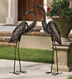 Blue Heron Bronze Finished Metal Garden Statuary (Set of 2