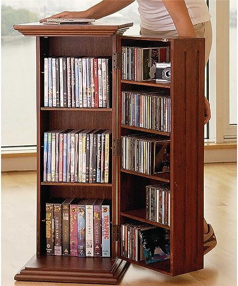 Columna de madera de caoba de DVD y CD para armario estante ...