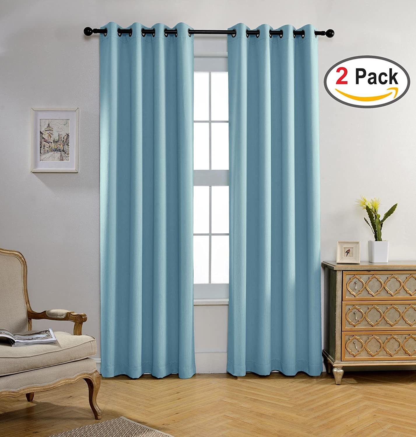 Sky Blue Miuco Blackout Curtains Room Darkening Curtains Textured Grommet Panels