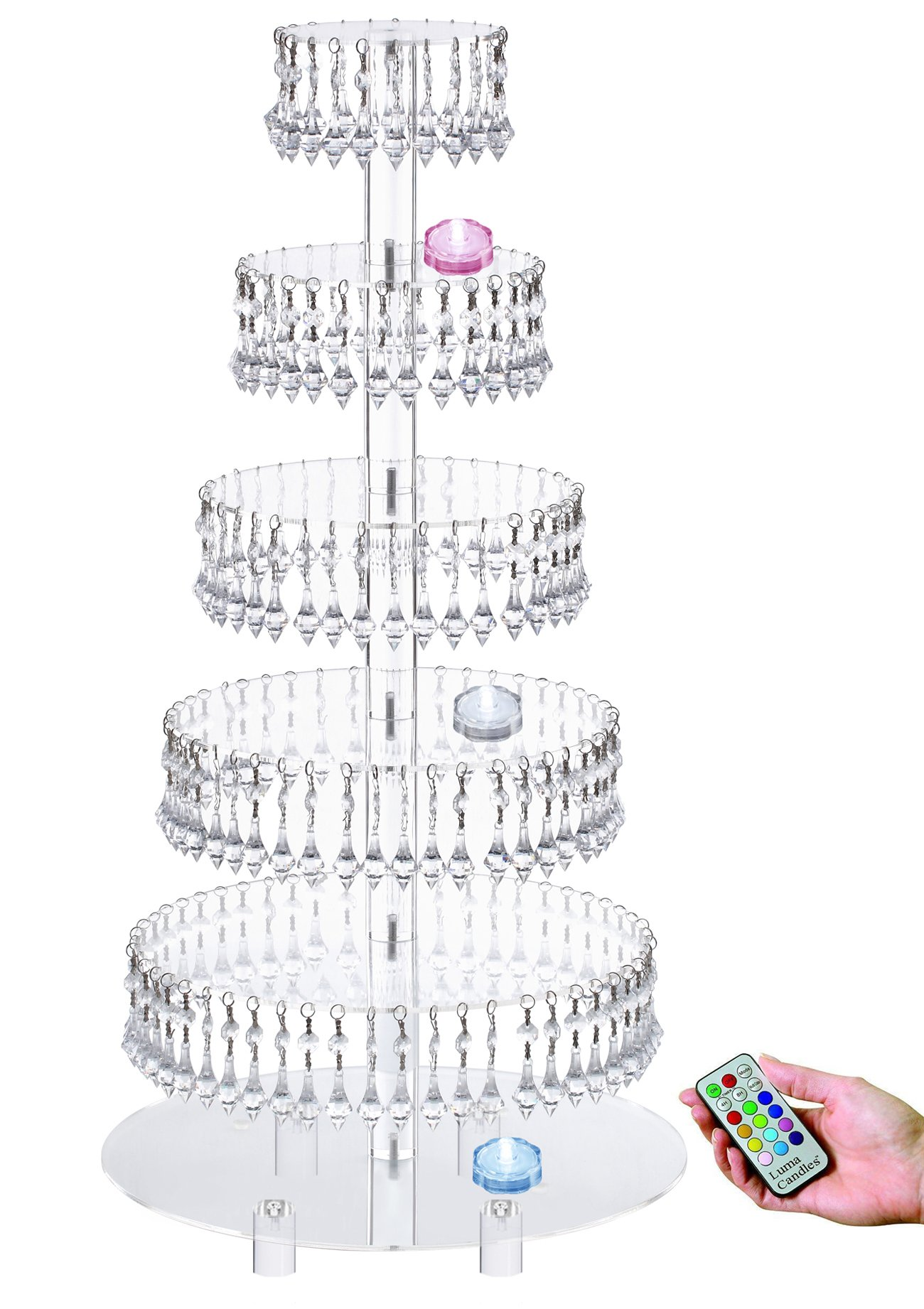 Pre-Installed Crystal Beads-6 Tier Acrylic Cupcake Tower Stand with Hanging Crystal Bead-wedding Party Cake Tower (6 Tier With Feet + LED Light)