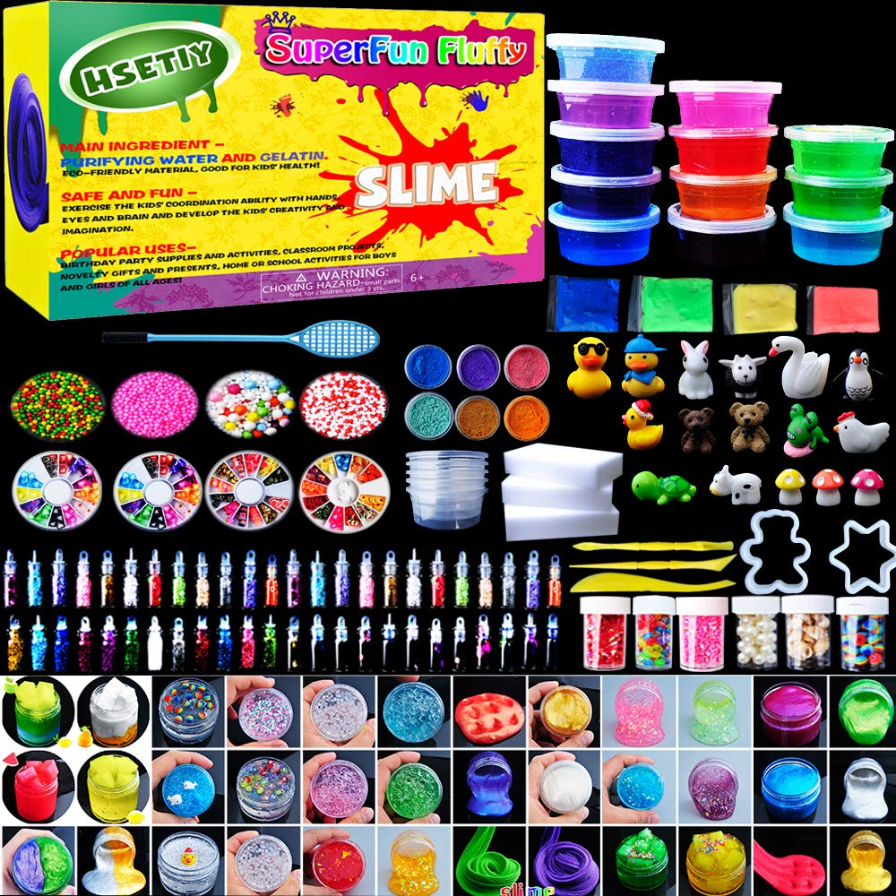 HSETIY Super Slime Kit Supplies-12 Crystal Clear Slimes 54 Packs Glitter Sheet Jars, 3 Jelly Cubes,4 Pcs Fruit Slices,16 pcs Animals Beads, Foam Balls,5 Slime Containers DIY Art Crafts