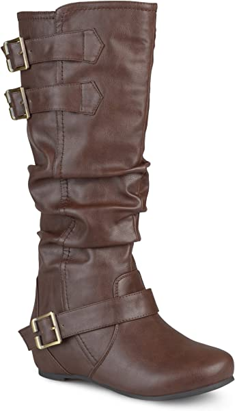 33244a97668a Journee Collection Womens Regular Sized and Wide-Calf Buckle Slouch Low-Wedge  Boots Brown