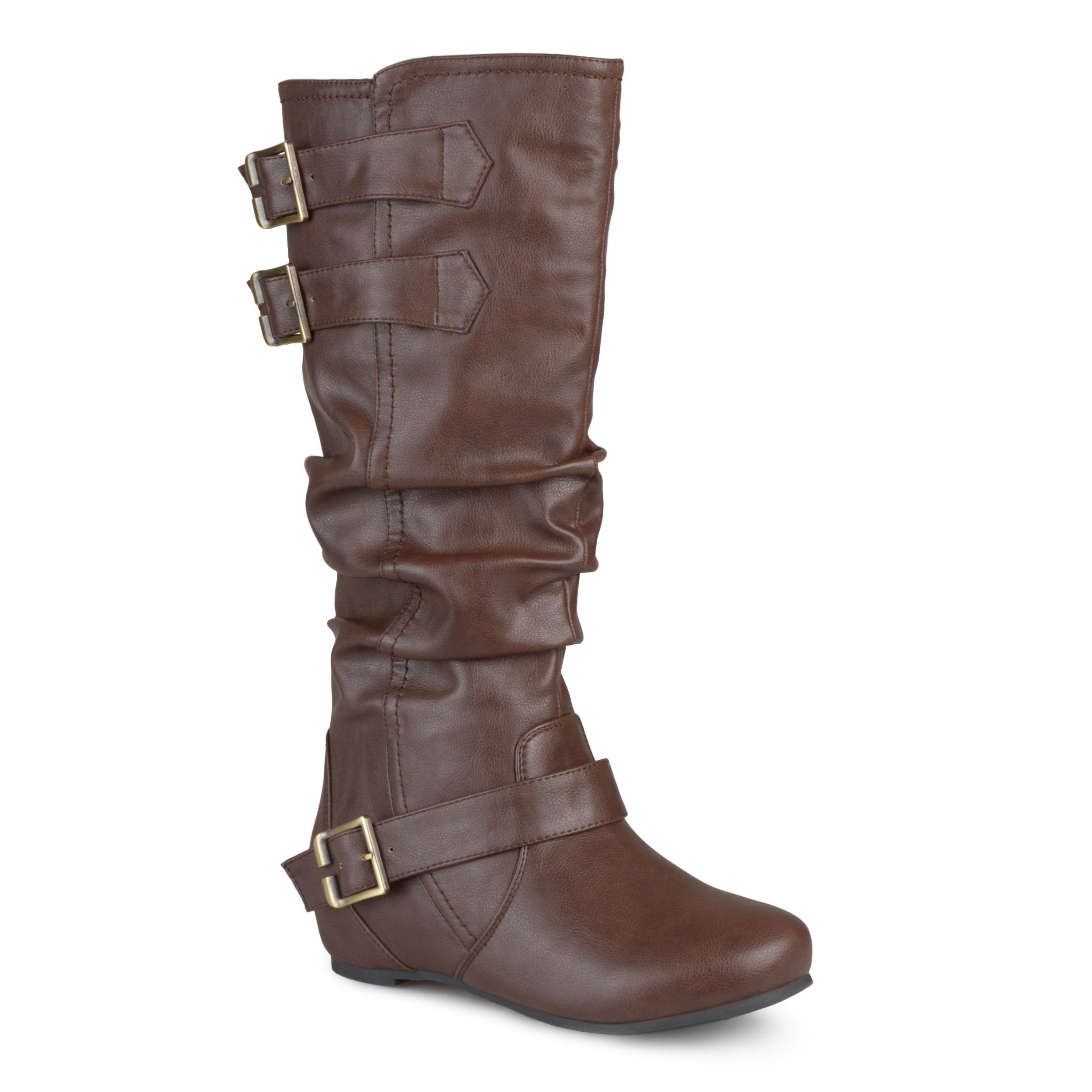 Journee Collection Womens Regular Sized, Wide-Calf and Extra Wide-Calf Buckle Slouch Low-Wedge Boots Brown, 9.5 Extra Wide Calf US