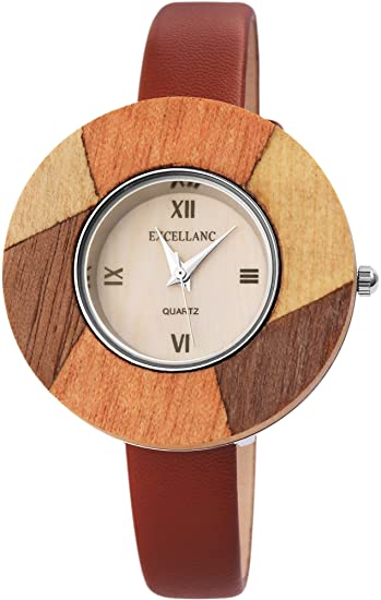 Reloj mujer Beige Rojo de marrón madera de Look Números Romanos analógico de cuarzo piel Reloj de pulsera: Amazon.es: Relojes