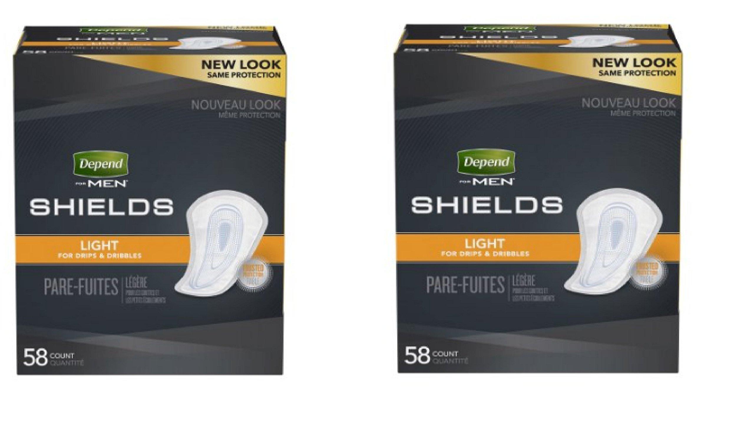Depend for Men Shields Light Absorbency - 58 CT (2 pack)