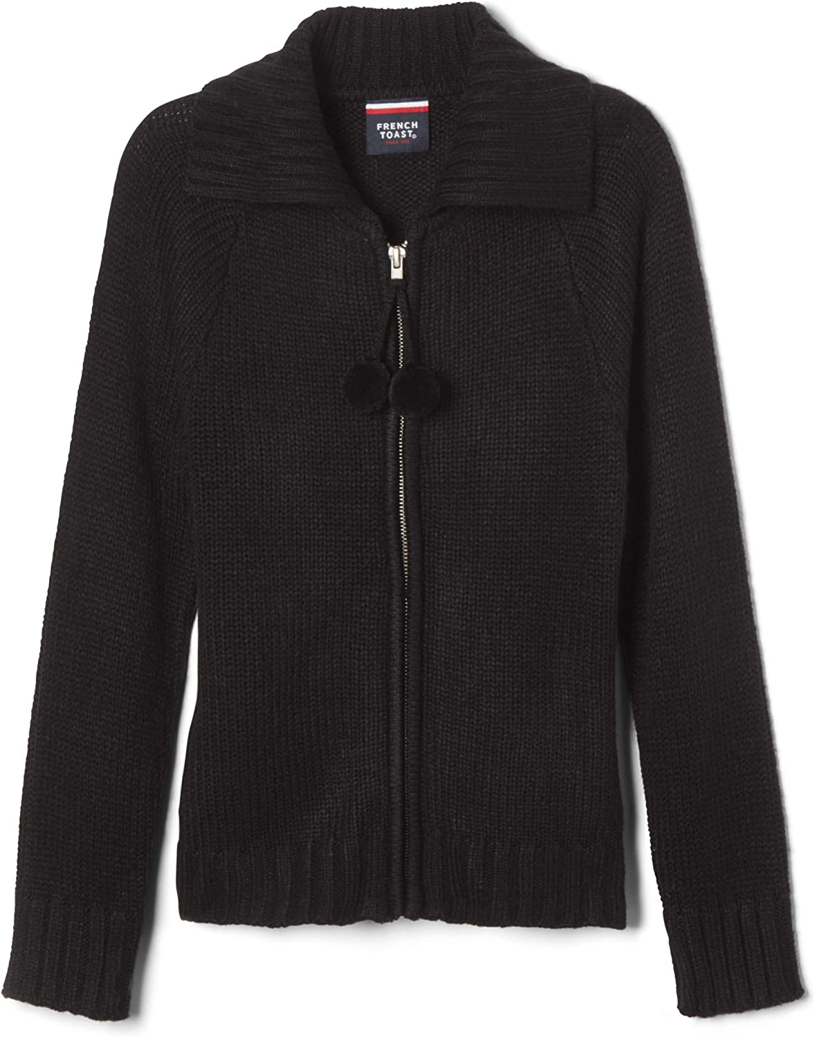 French Toast Big Girls Pom Pom Zip Up Sweater