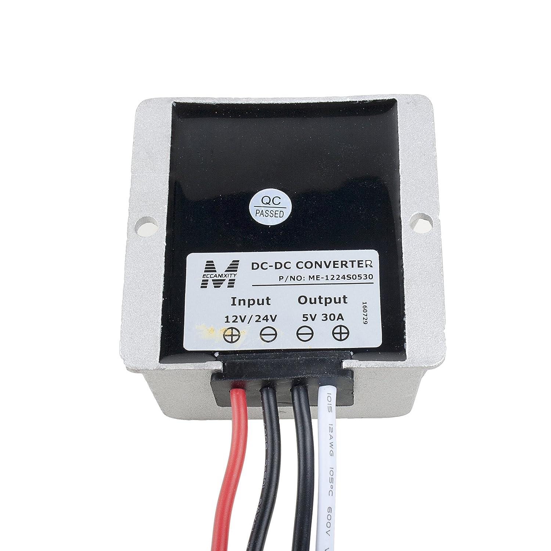 Amazon.com: eDealMax DC12V / 24V (10V ~ 40V) Descender al módulo de alimentación DC 5V 30A 150W impermeabilizan la energía del coche del convertidor de ...