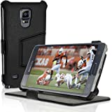 iGadgitz Premium Folio Black PU Leather Case Cover for Samsung Galaxy Note 4 SM-N910 with Multi-Angle Viewing Stand + Screen Protector