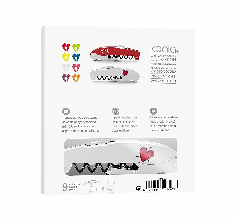 Rosa 9x2.5x18.3 cm Koala Internatioal Flamingo Set de Sacacorchos y Tap/ón 2 Unidades Poliamida