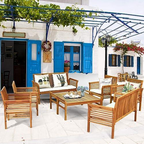 Tangkula 4 Piece Outdoor Acacia Wood Sofa Set w/Water Resistant Cushion