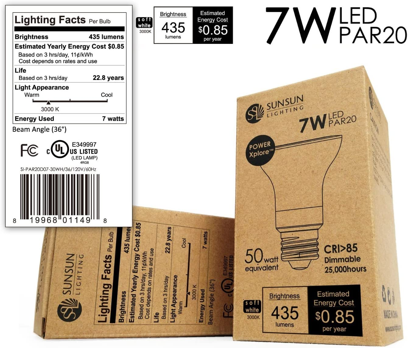4-Pack SunSun Lighting SI-PAR20D07-30WH//36 PAR20 LED Dimmable Spot Light Bulb Soft White