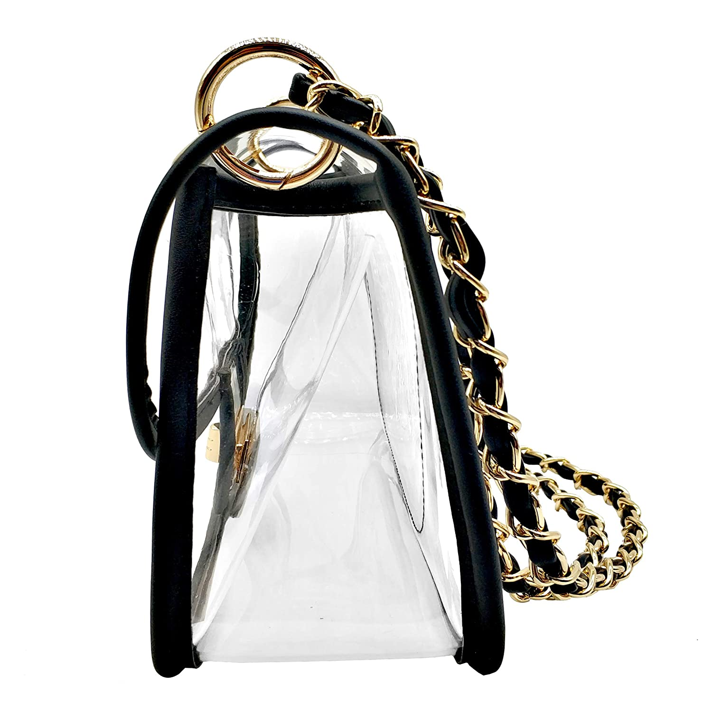aaf026db662 Laynos Clear Purse Turn Lock NFL Approved Chain Crossbody Shoulder Bags  Handbags Black  Handbags  Amazon.com