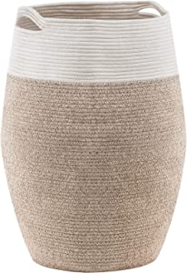 YOUDENOVA Laundry Hamper Large Woven Cotton Rope Laundry Basket Dirty Clothes Hamper for Laundry or Bedroom – 25.6 Height Brown