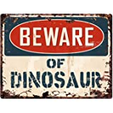 """Beware of DINOSAUR Chic Sign Vintage Retro Rustic 9""""x 12"""" Metal Plate Store Home Room Wall Decor Gift"""