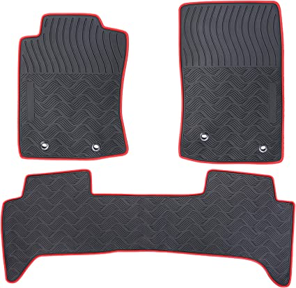 San Auto Car Floor Mat Rubber Custom Fit for Toyota Tacoma 2017 2016 Black Red Auto Floor Liners All Weather Heavy Duty Odorless