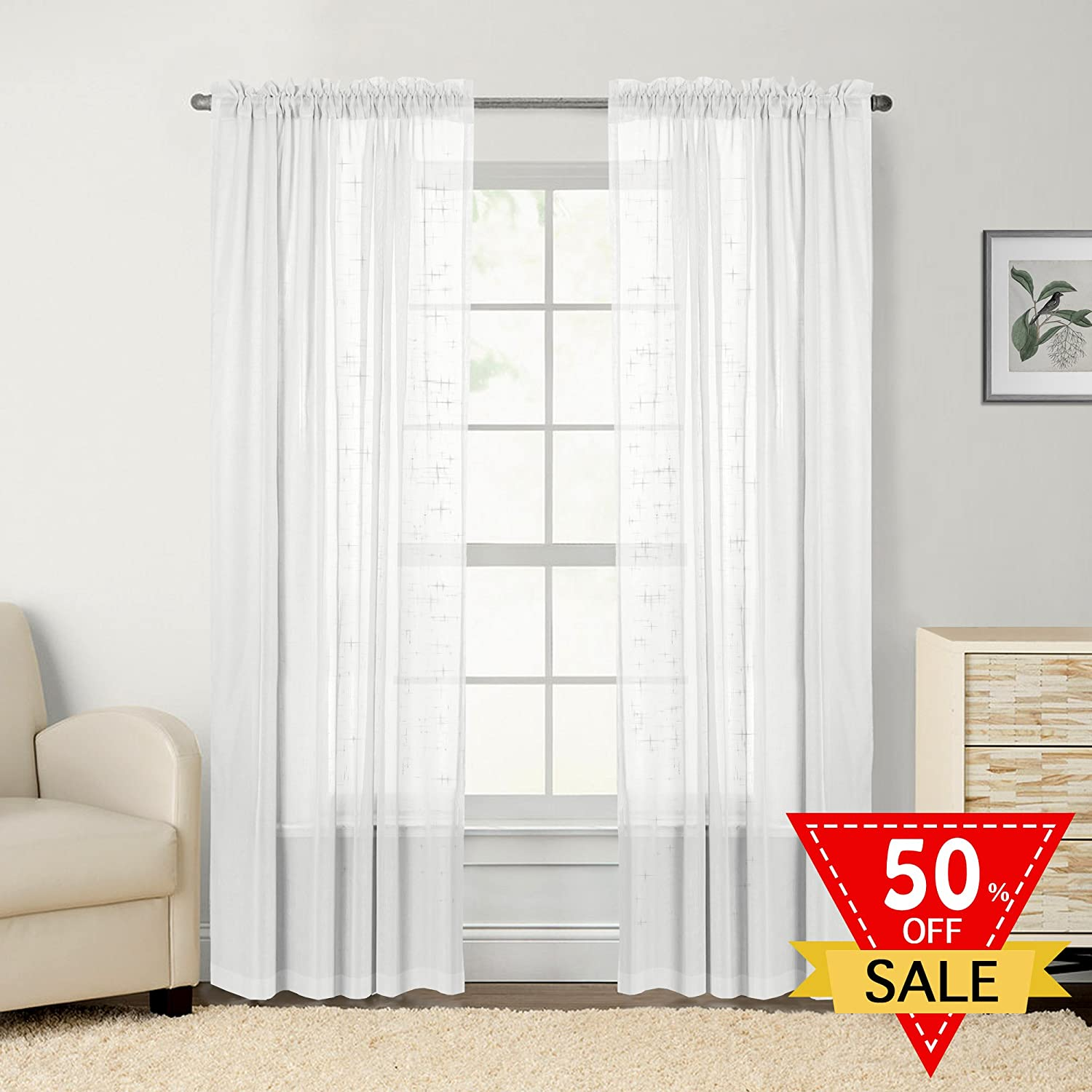 FlamingoP Faux Linen Sheer Curtains / Drapes for Bedroom Window