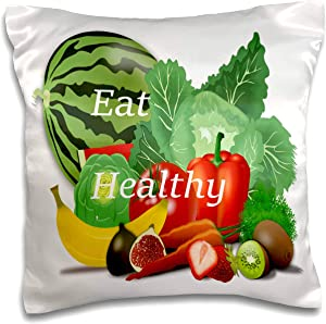 3dRose lens Art by Florene - Crazy For Different Foods - Image of Words Eat Healthy On Fruits And Vegetables - 16x16 inch Pillow Case (pc_309815_1)