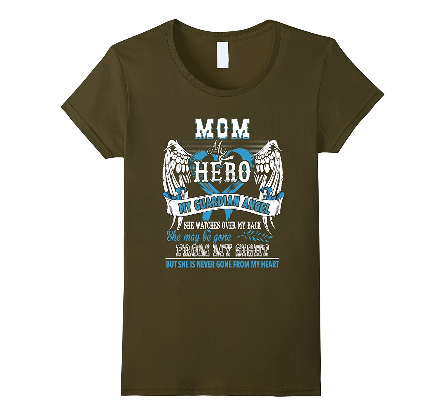 Mom is my guardian angel t-shirt-Mom in heaven T-Shirt-Bawle