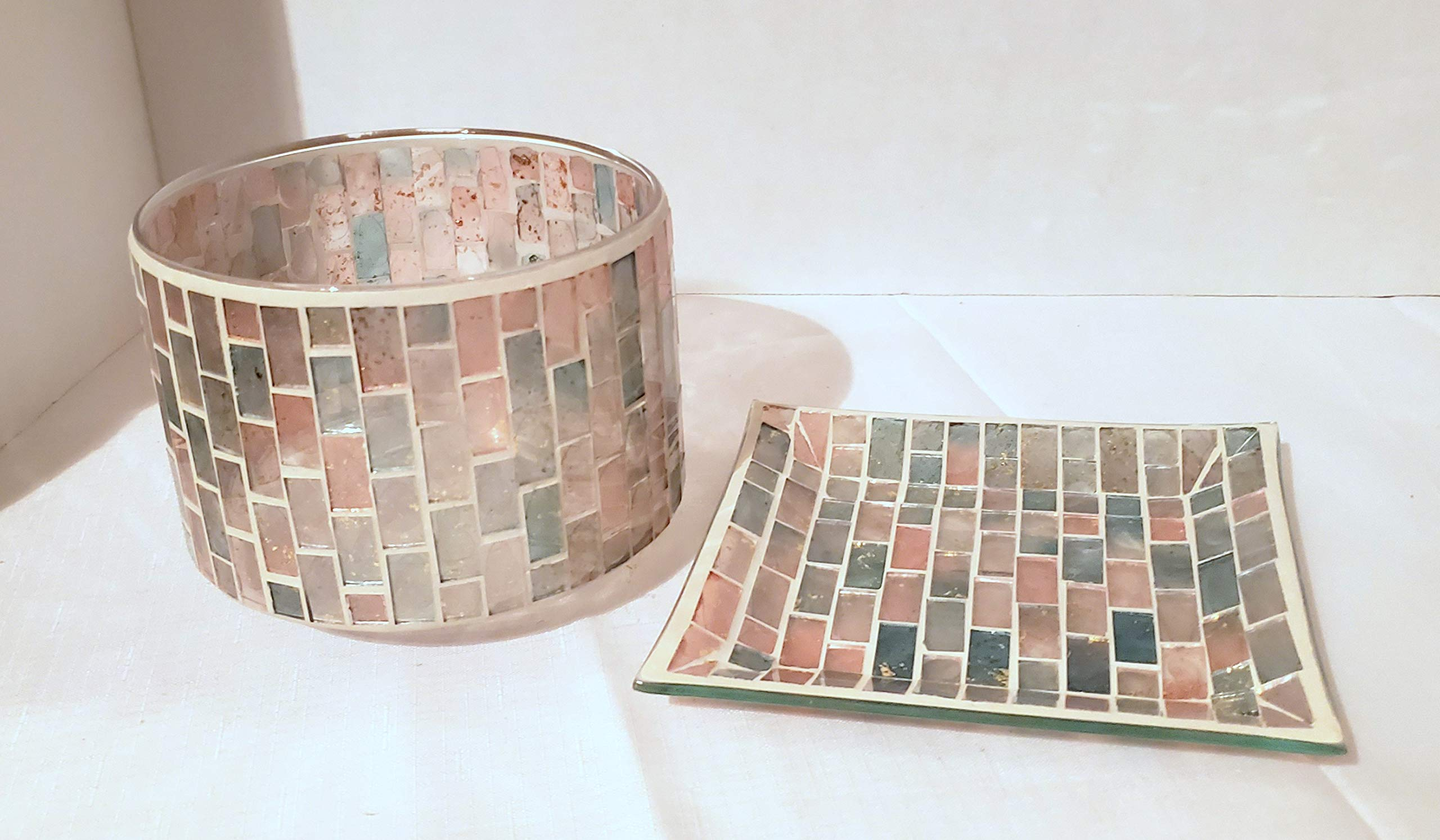 Yankee Candle New Romance Mosaic Barrel Jar Candle Shade Topper and Candle Tray 2pc Set