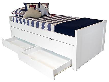Sueñomueble - Cama infantil, juvenil blanco lacado 2 camas y cajones ...
