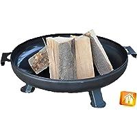 Feuerstelle großer Schwarz Fire Pit ✔ rund ✔ Grillen mit Holzkohle