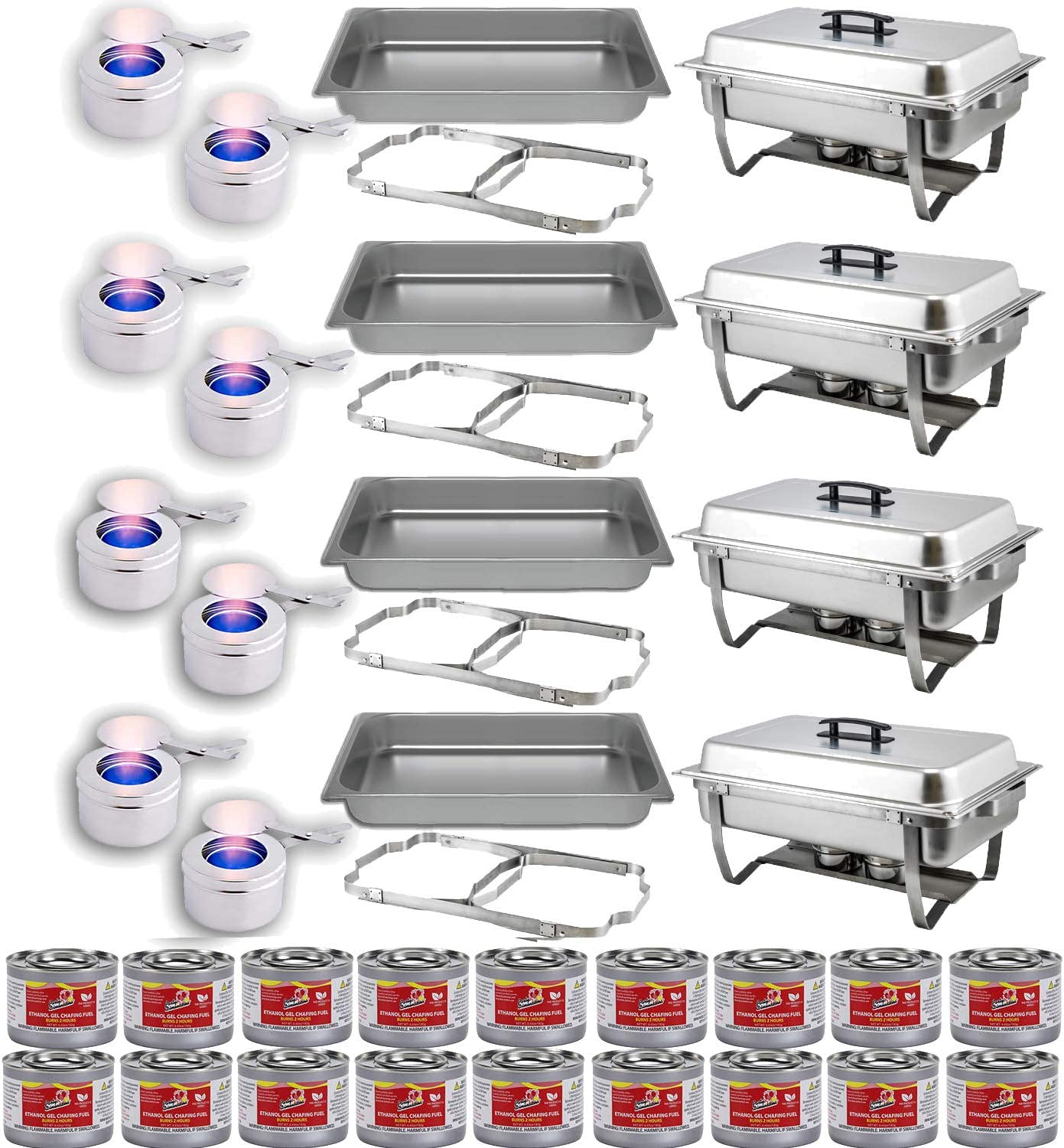 Chafing Dish Buffet Set w/Fuel — Folding Frame + Water Pan + Food Pan (8 qt) + 8 Fuel Holders + 18 Fuel Cans – 4 Full Warmer Kit, Stainless Steel Construction